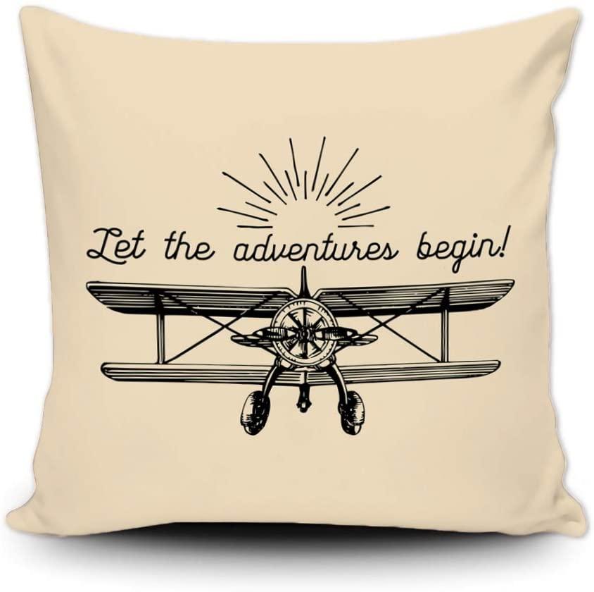 SVITFAMLI Throw Pillow Cover Let The Adventures Begin Motivational Vintage Retro Airplane Typographic Inspirational Hand Decorative Cushion Case Home Decor Square 18 x 18 Inch Pillowcase
