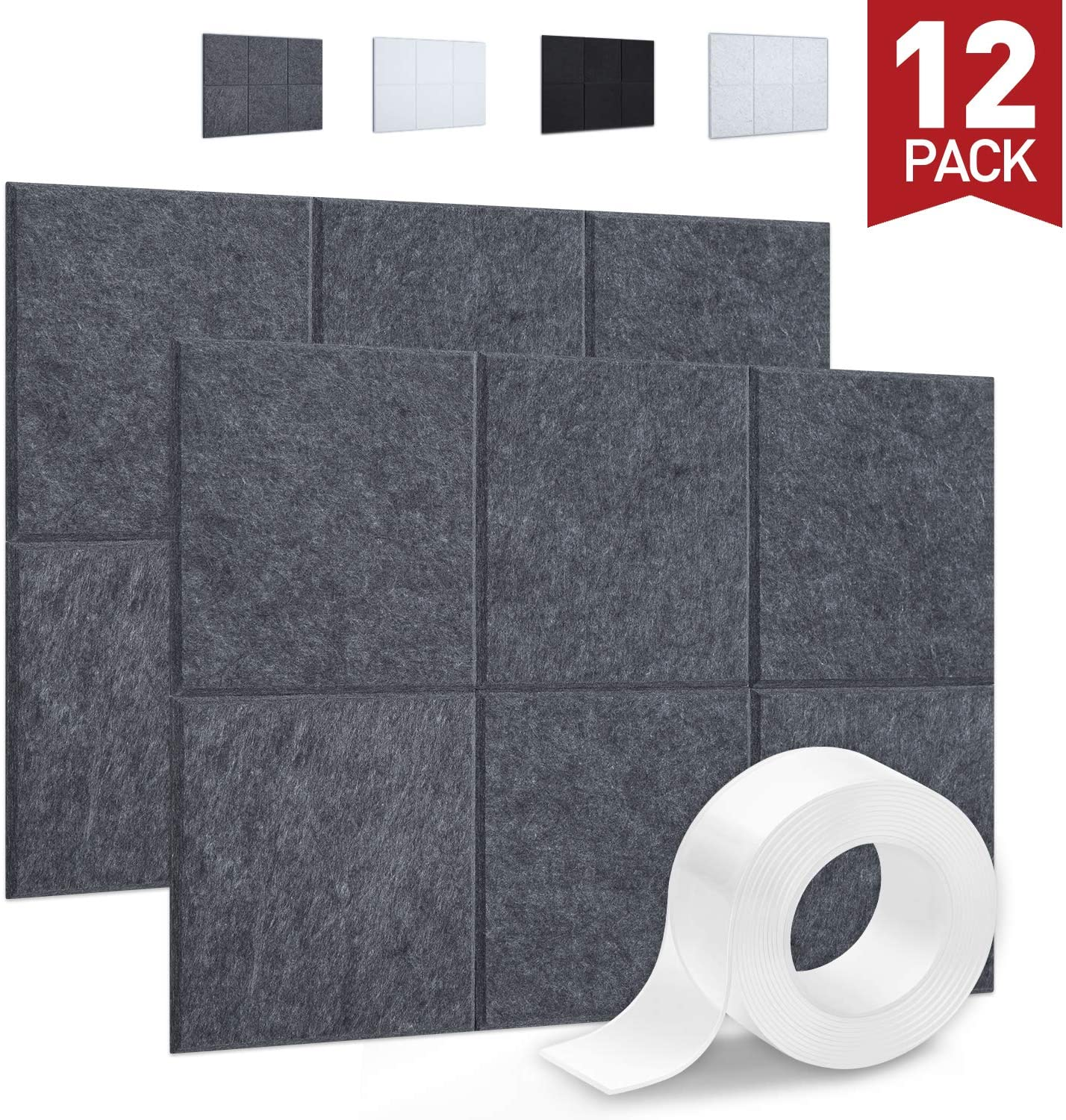 Focusound 12 Packs of Acoustic Panels, Sound Proof Padding Wall Panels with Double Side Adhesive Tape, Beveled Edge, 12