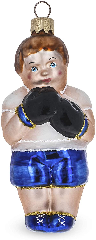 BestPysanky Boxer Glass Christmas Ornament