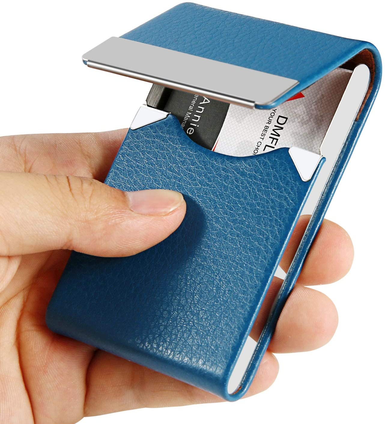DMFLY Professional Leather Business Card Holder Metal Business Card Case Slim Business Card Wallet Name Card Holder Business Card Carrier for Men & Women, 3.7 x 2.4 x 0.5 inches, Blue