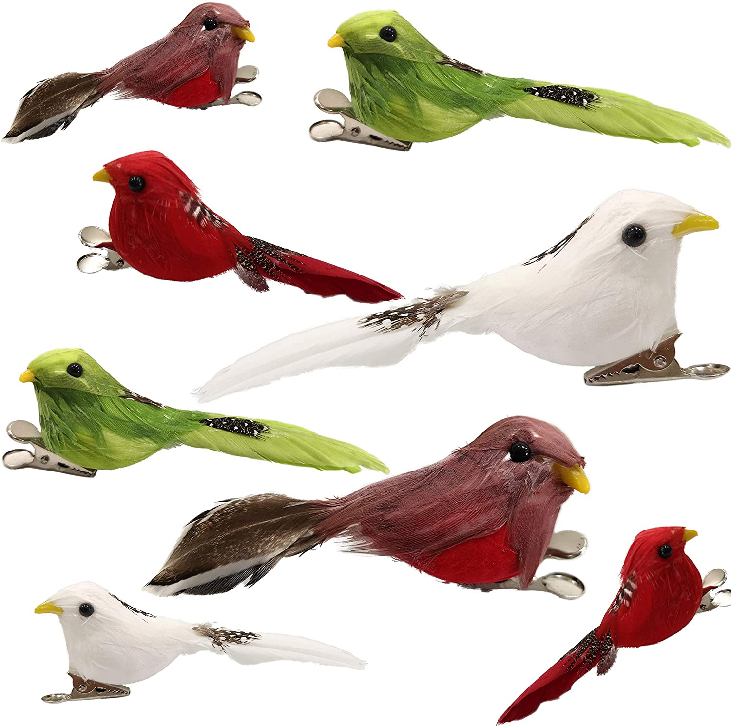 Athoinsu 8 PCS Artificial Easter Feather Robin Birds with Clips Handmade Spring Xmas Holiday Yard Garden Lawn Tree Decor Party Favors