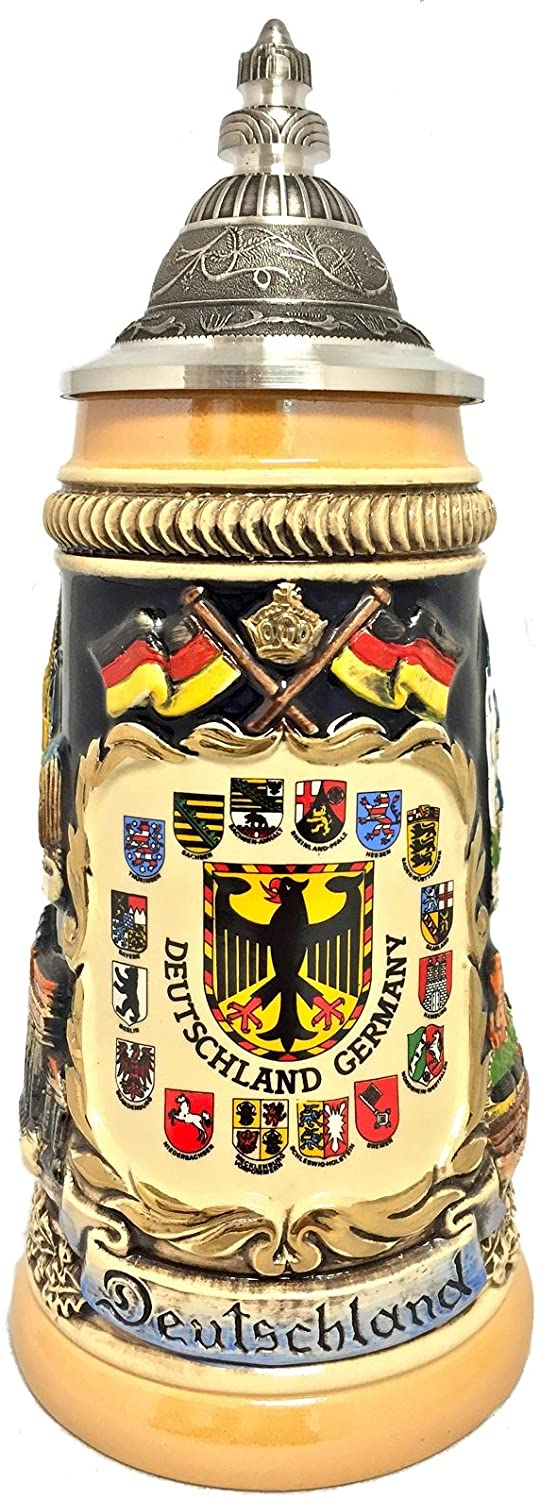 Rustic Deutschland Germany Shield Cities with Crests LE German Beer Stein .25 L