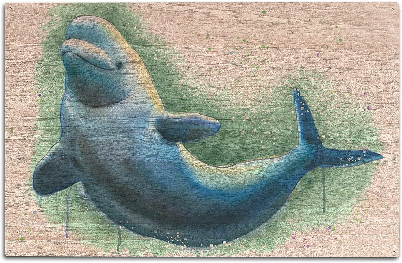 Lantern Press Beluga Whale - Natural Colors (10x15 Wood Wall Sign, Wall Decor Ready to Hang)
