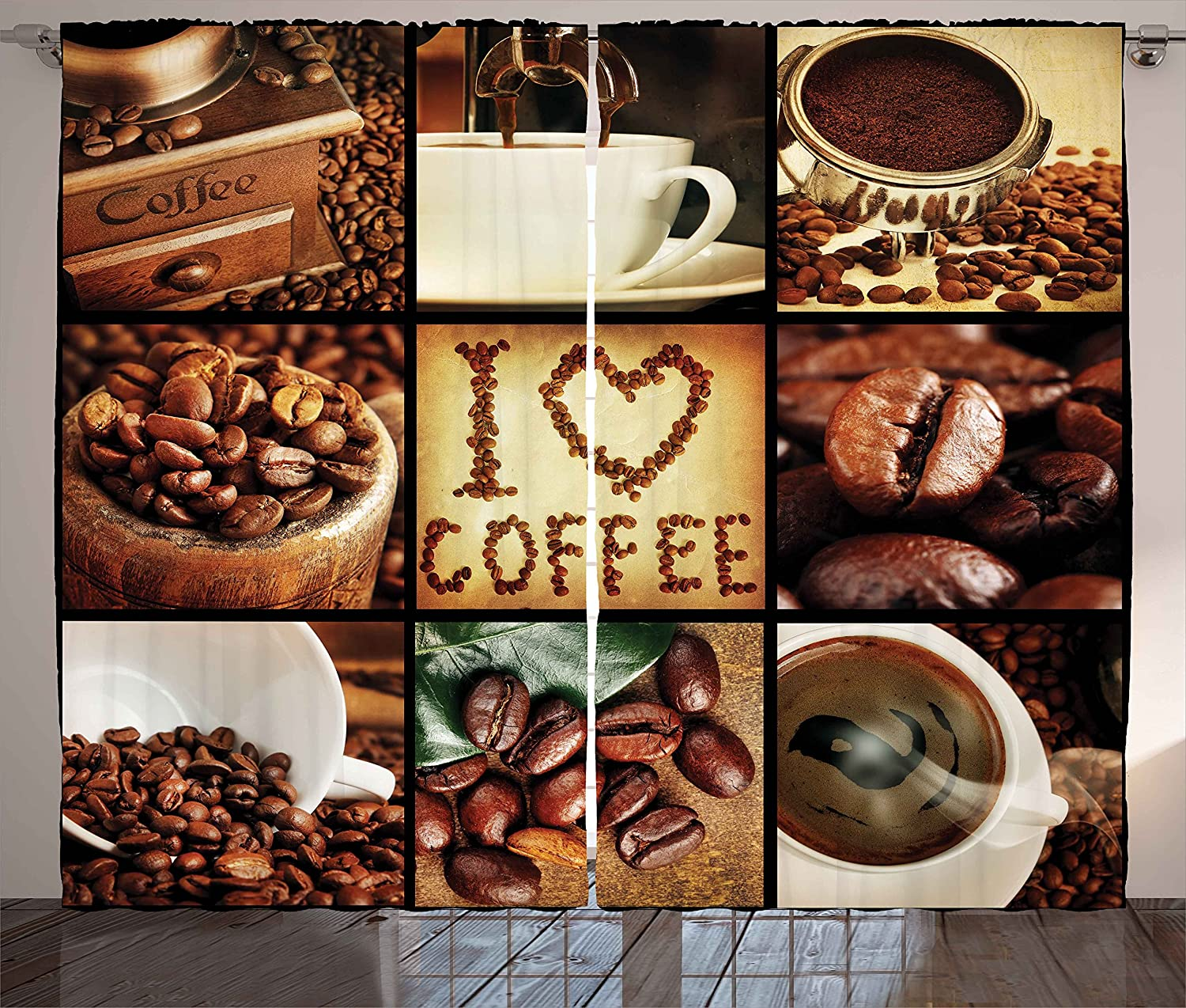 Ambesonne Brown Curtains, I Love Coffee Theme Collage Roasted Beans Brewing Machines and Cups Aromatic Drink, Living Room Bedroom Window Drapes 2 Panel Set, 108