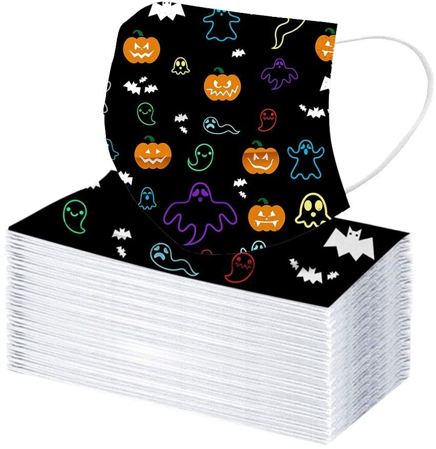 DJked Disposable Face Māsk 3 Layers Design Comfortable Breathable Māsks (Halloween style E- Pack of 100)