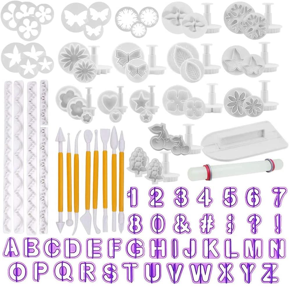Fondant Tools OFNMY 108pcs Fondant Cutter Cake Decorating Kit Cake Baking Tools Sugarcraft Icing Decoration Kit Flower Modelling Fondant Tools