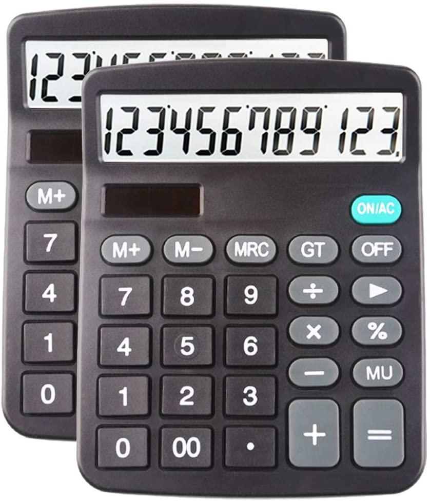 Desk Calculators Large Display 2 Pack,Solar Calculator, Basic Calculator with 12 Digits & Big button,Office calculator(Black)