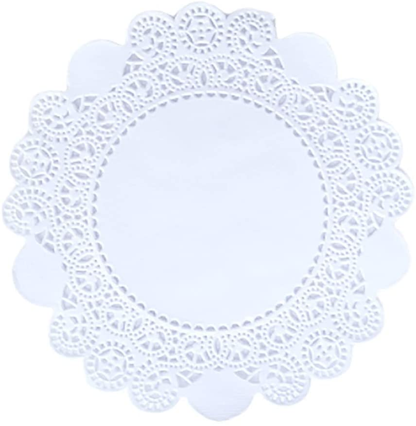 Doilykorea- 250pcs. Premium 5inch pure Round Lace paper doilies- Non-Dust, Clean Cut, Simple design: Party/Gift/for Cake Crafts/Home Decoration Weddings Table settings Placemats [5, pure White]