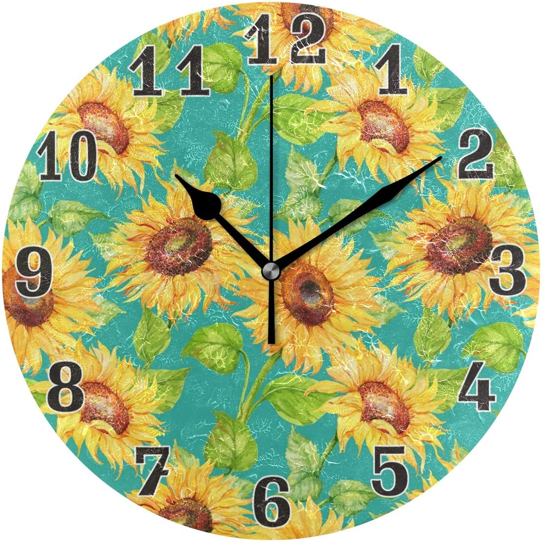 WXLIFE Vintage Floral Flower Sunflower Round Acrylic Wall Clock, Silent Non Ticking Art Painting for Kids Bedroom Living Room Office School Home Decor