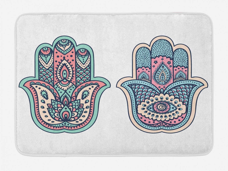 Ambesonne Hamsa Bath Mat, Hamsa Hand Motif Bohemian Female for Misfortune Print Evil Eye and Lotus, Plush Bathroom Decor Mat with Non Slip Backing, 29.5