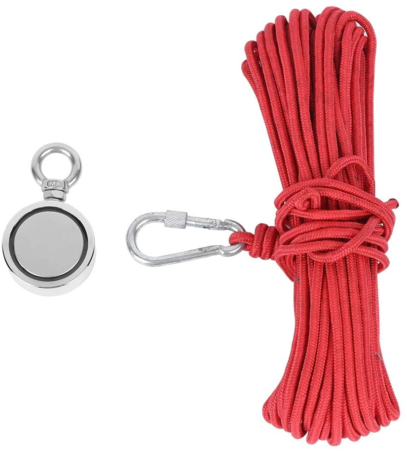 Complete Magnet Fishing Kit, 265lbs Pull Force Super Strong Fishing Magnets N35 Magnets wih 20m Durable Rope, Permanent Magnetic Force
