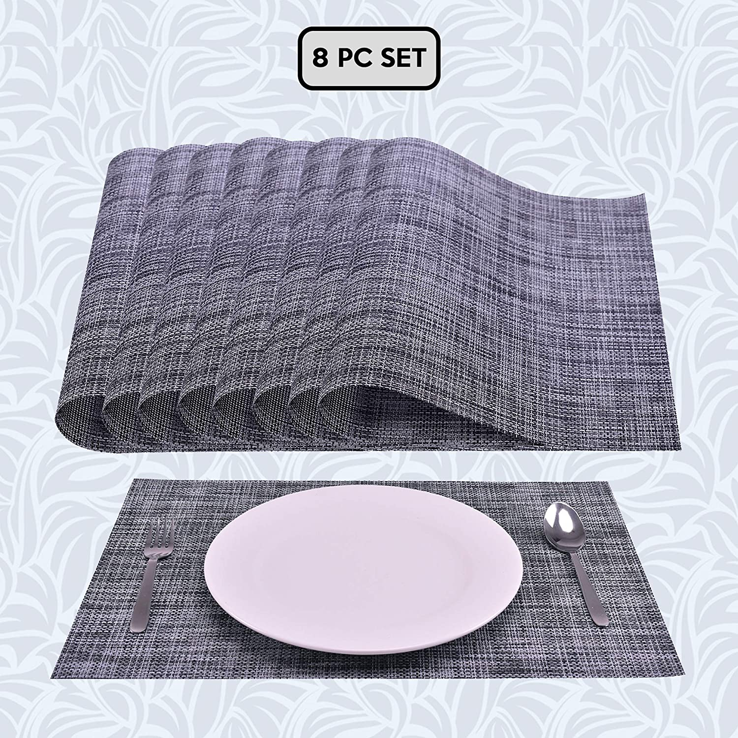 """Decozen PVC Placemats Set of 8 for Dining Table Coffee Table Kitchen Mats Heat Resistant Anti Skid Washable Easy to Clean Woven Vinyl Placemats in Reusable Pouch 18""""x12"""" - Grey"""