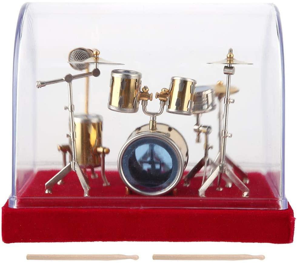 Qiterr Drum Set Display,Mini Musical Instrument Model Musical Instrument Drum Model Mini Ornaments Craft(18cm)