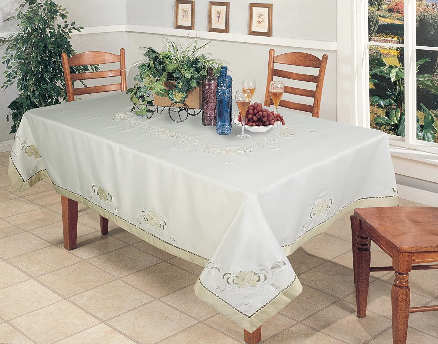 Creative Linens Embroidered Floral Cutwork Applique Tablecloth 68x104 Rectangular Ivory Holiday