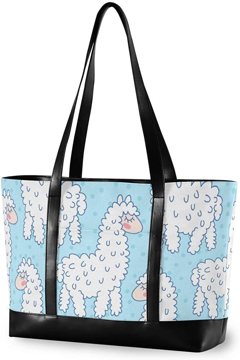 White Sheep Laptop Tote Bag for Woman 15.6 inch Laptop Organizer Bag Teacher Work Purse(912f)