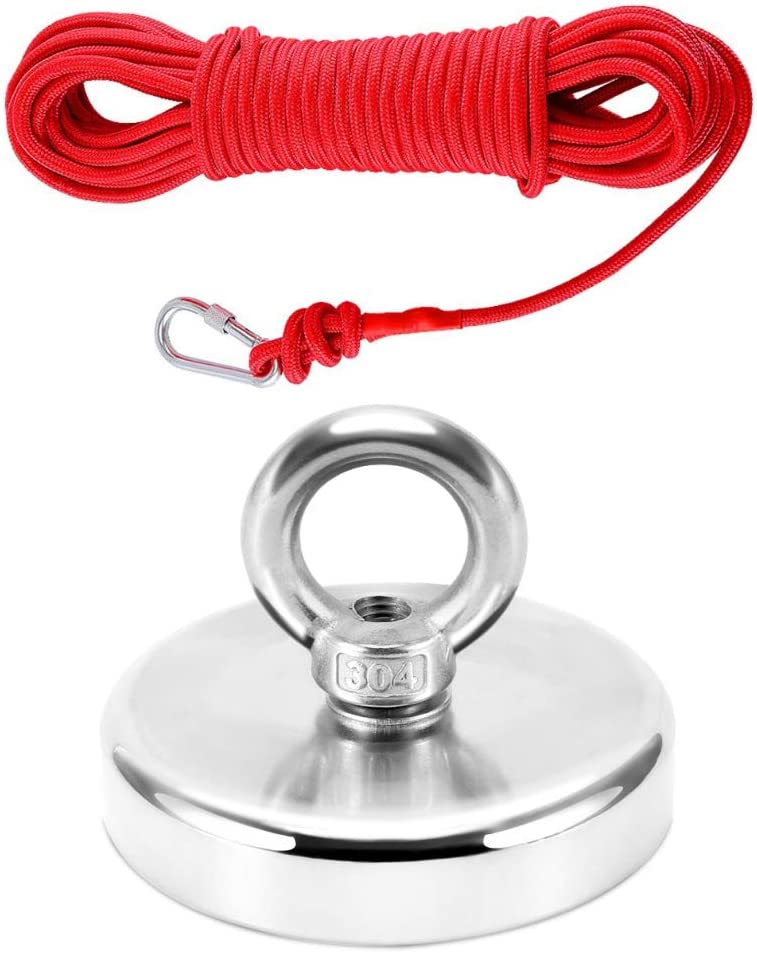 HGMAG 750 LBS Pulling Force Rare Earth Magnet, Super Strong Neodymium Fishing Magnets with 64 Feet Rope&Carabiner, Diameter 3.54 inch(90mm) for Magnetic Fishing and Retrieving in River (3.54