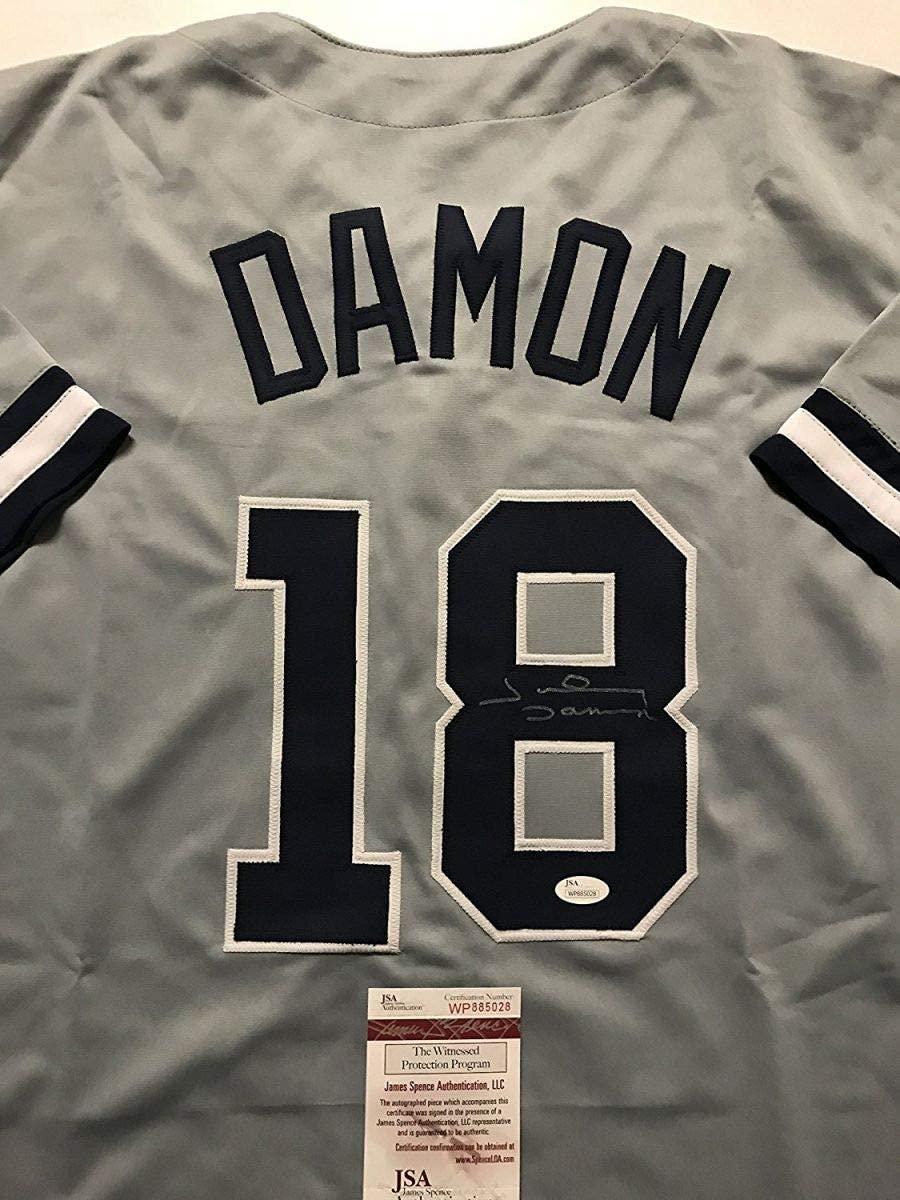 Autographed/Signed Johnny Damon New York Grey Baseball Jersey JSA COA