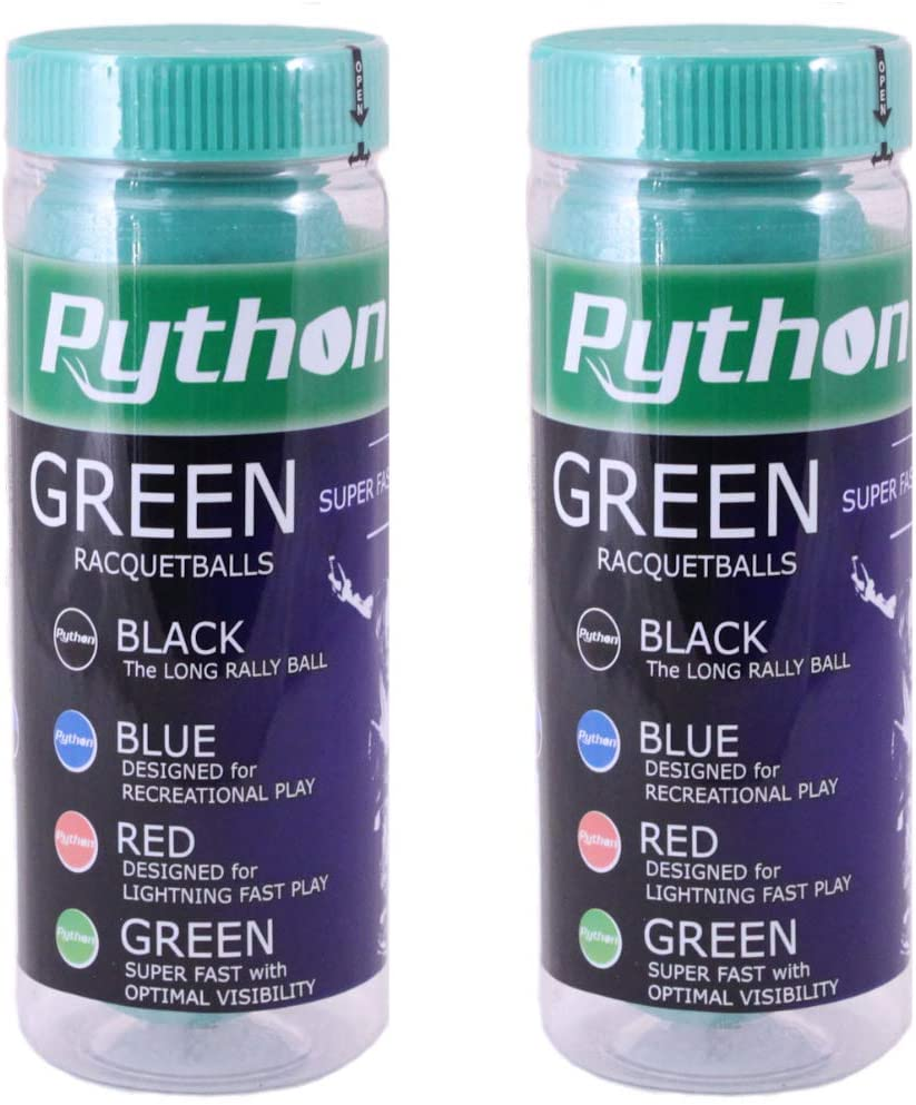 Python 3-Ball Can (Green) Racquetballs (Super Fast w/Optimal Visibility)