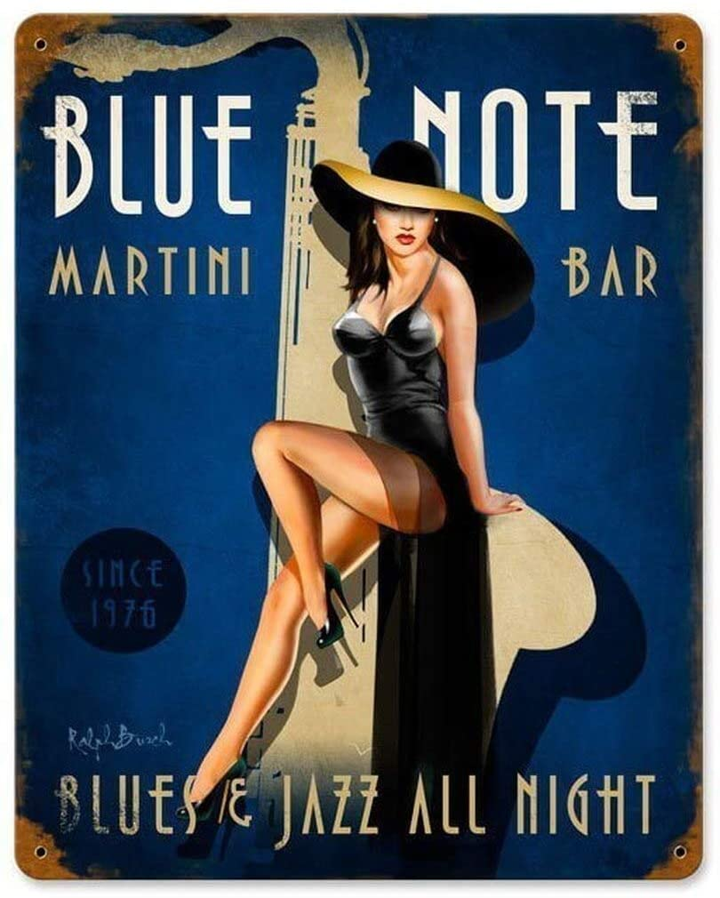 Losea Blue Note Jazz Club Vintage Metal Vintage Tin Sign Wall Decor 12 x 16 Inches