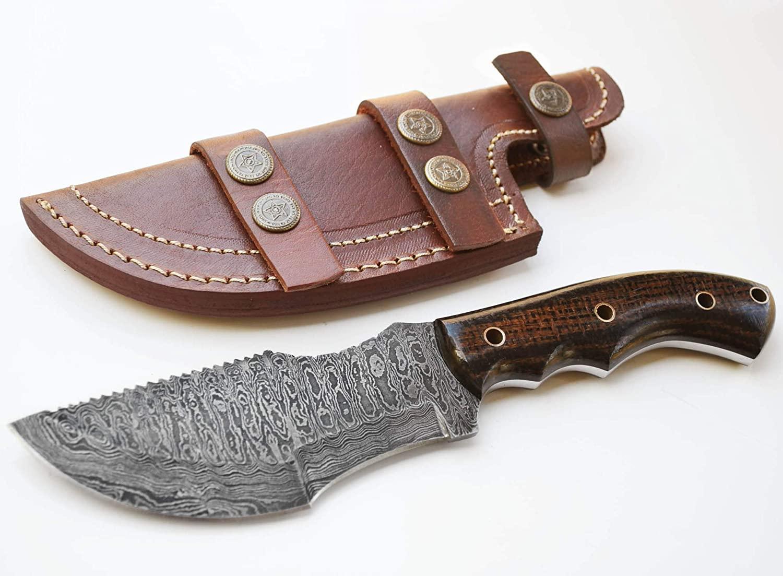 Whole Earth Supply Ladder Damascus Tracker Knife Hunting Knives Black & Brown Micarta +Sheath