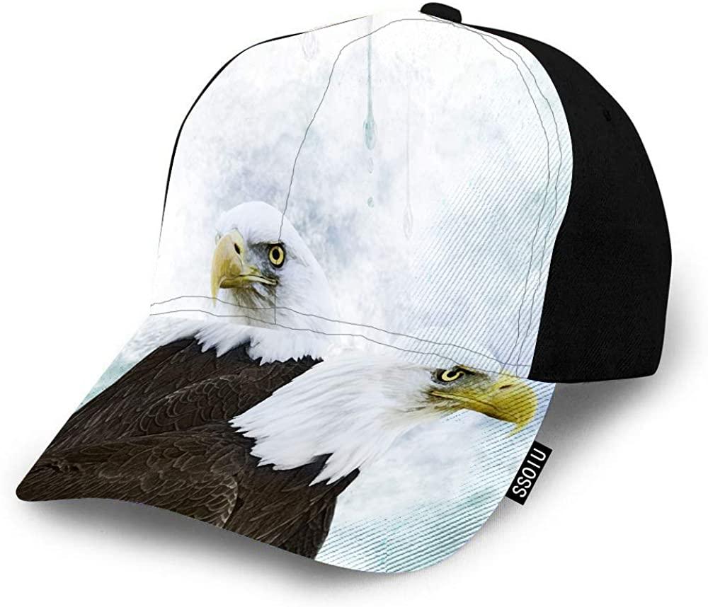 SSOIU Bald Eagles Baseball Cap for Men Women,Bird Portrait Raptor Falcon Brown White Forest Animal Beak Predator Baseball hat Unisex Adjustable Hats