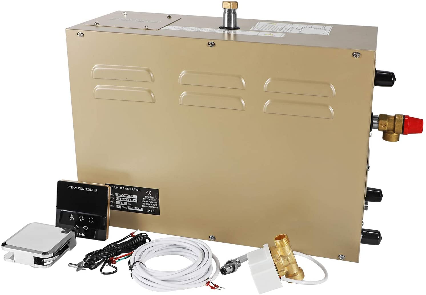 CGOLDENWALL 9KW Commercial Self-Draining Digital Steam Generator Shower System Sauna Bath Home SPA 30 min to 12 Hours with Waterproof controler For suitable space heating 9 m³ (220V)