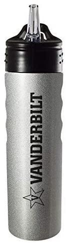 LXG, Inc. Vanderbilt University-24oz. Stainless Steel Grip Water Bottle with Straw-Silver