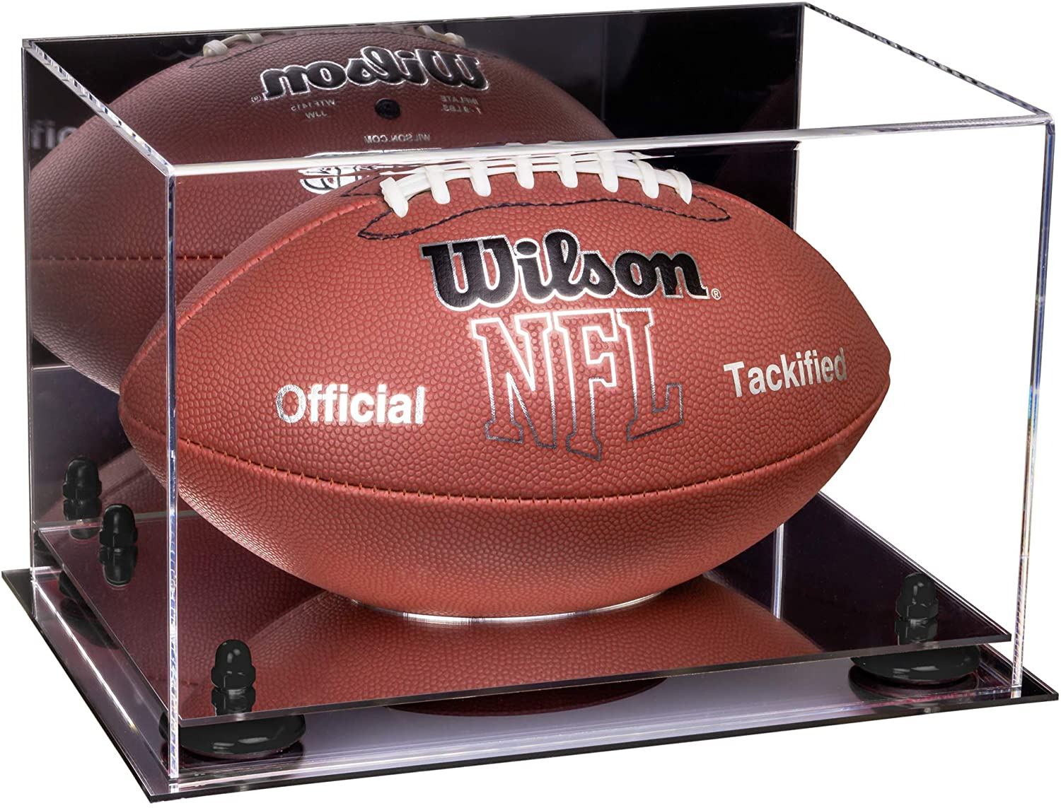Better Display Cases Acrylic Full Size Football Display Case with Risers