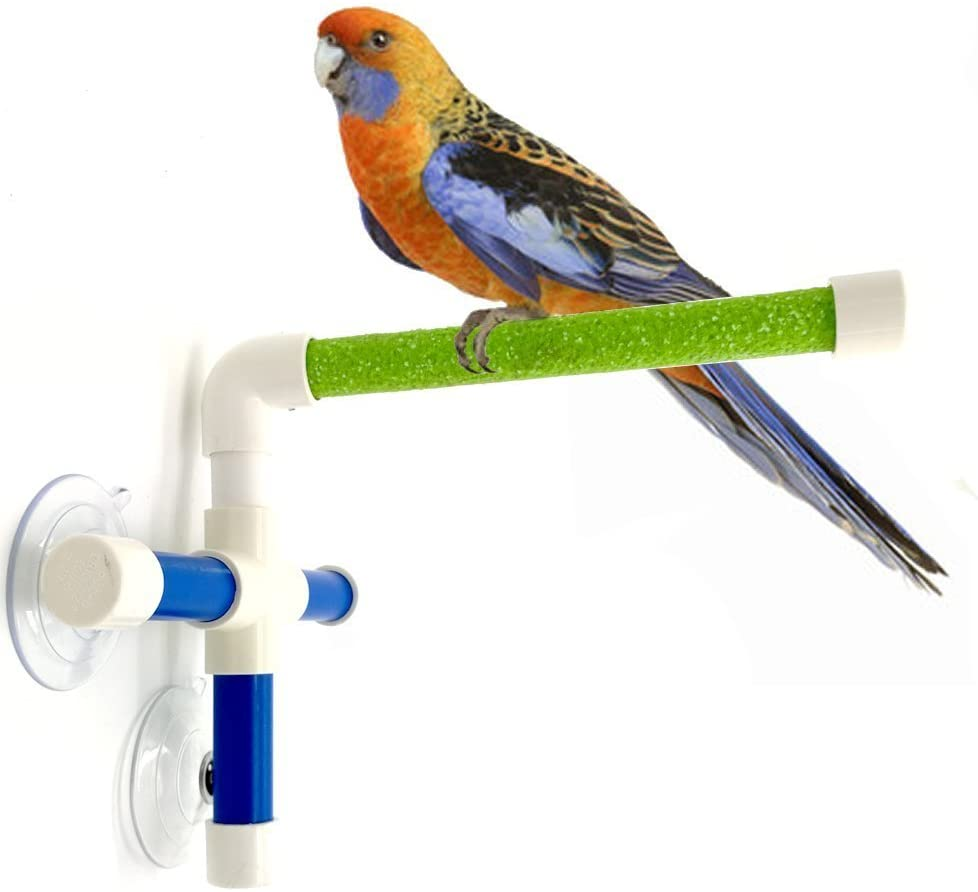Hypeety Portable Suction Cup Bird Window and Shower Perch Toy for Bird Parrot Macaw Cockatoo African Greys Budgies Parakeet Bath Perch Toy
