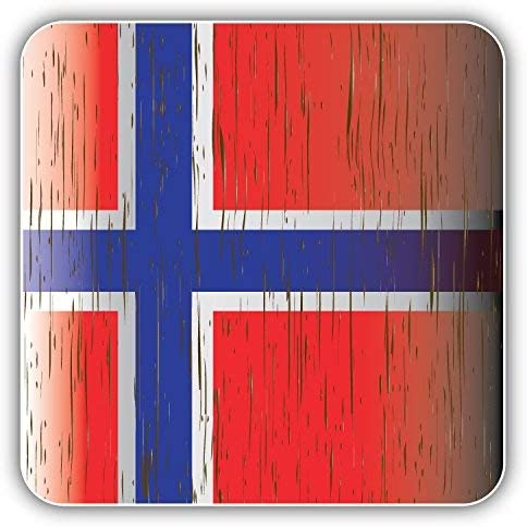 DG Graphics Norway Wooden Flag Art Decor 5'' x 5'' Vinyl Decal Sticker Wall Window Any Smooth Surface