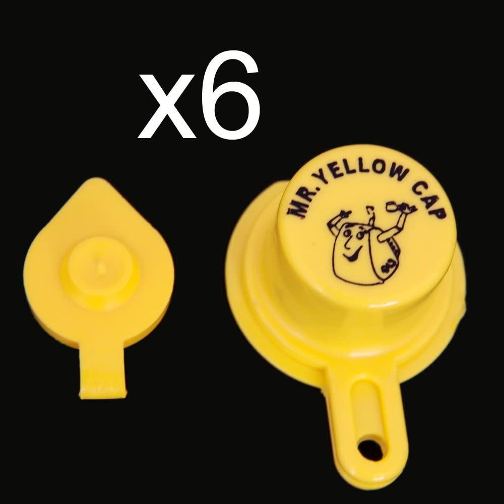 Yellow Gas Can Cap That Fits Your Vintage Blitz Spout - 6 Single Caps & 6 Vents