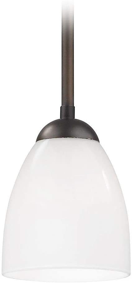 Bronze Mini-Pendant Light with Opal White Bell Glass Shade