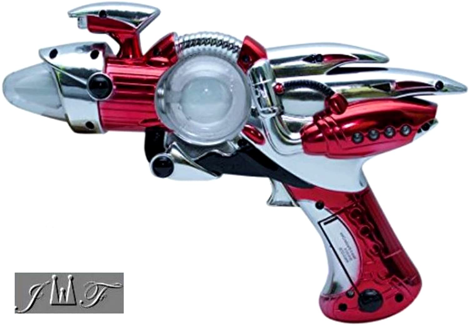 JEWELS FASHION Light- Up Toy Gun - Red Or Blue Laser Space Gun Blaster Toy -Noise Making -Super Spinning -11 1/2 Inch- for Children, Play Time, Pretend, Parties, (RED)