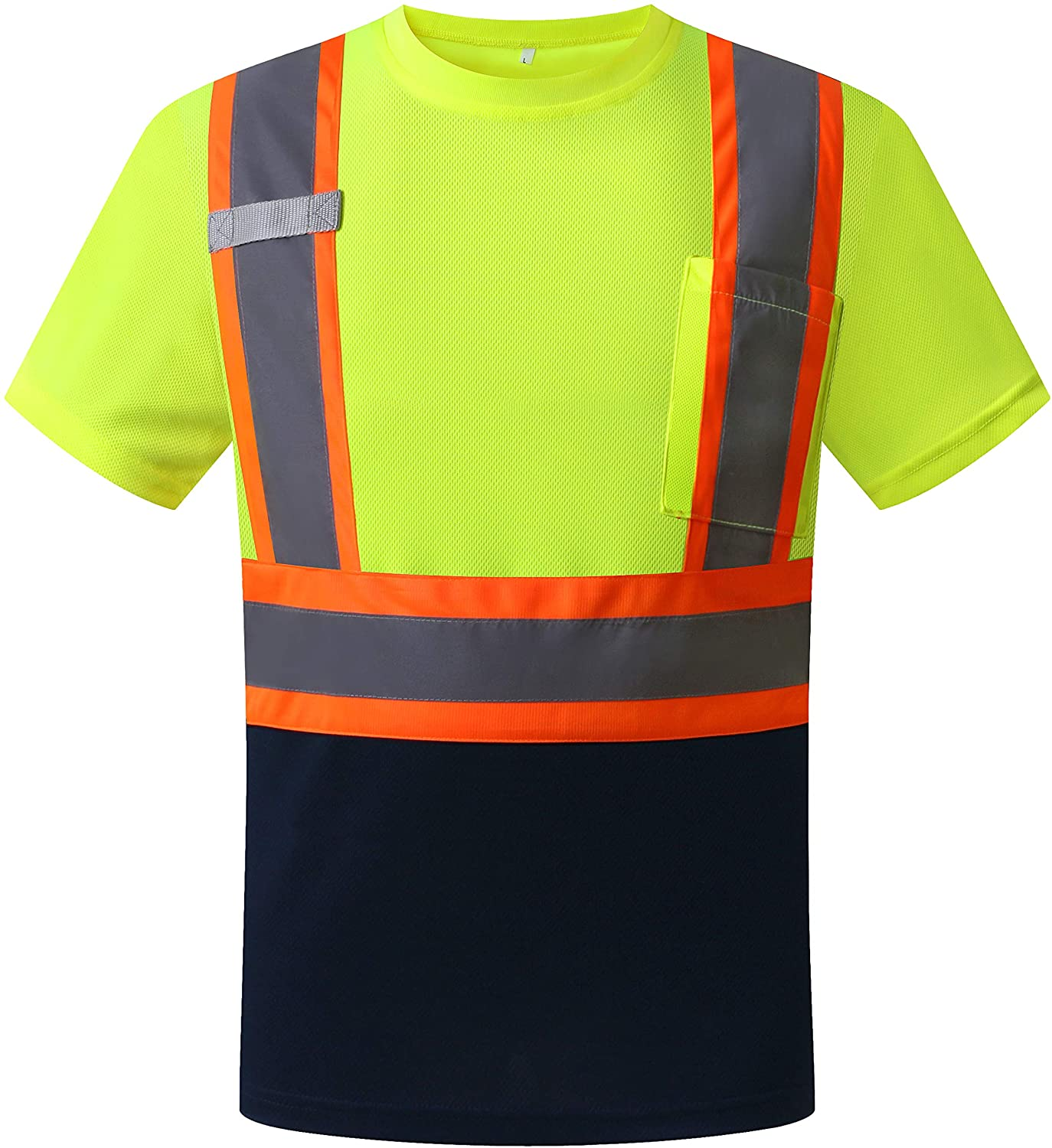LOHASPRO Safety Shirt High Visibility - Reflective Polo Shirt Short Sleeve for Men and Women - ANSI/ISEA Standards (3X-Large, Green black)