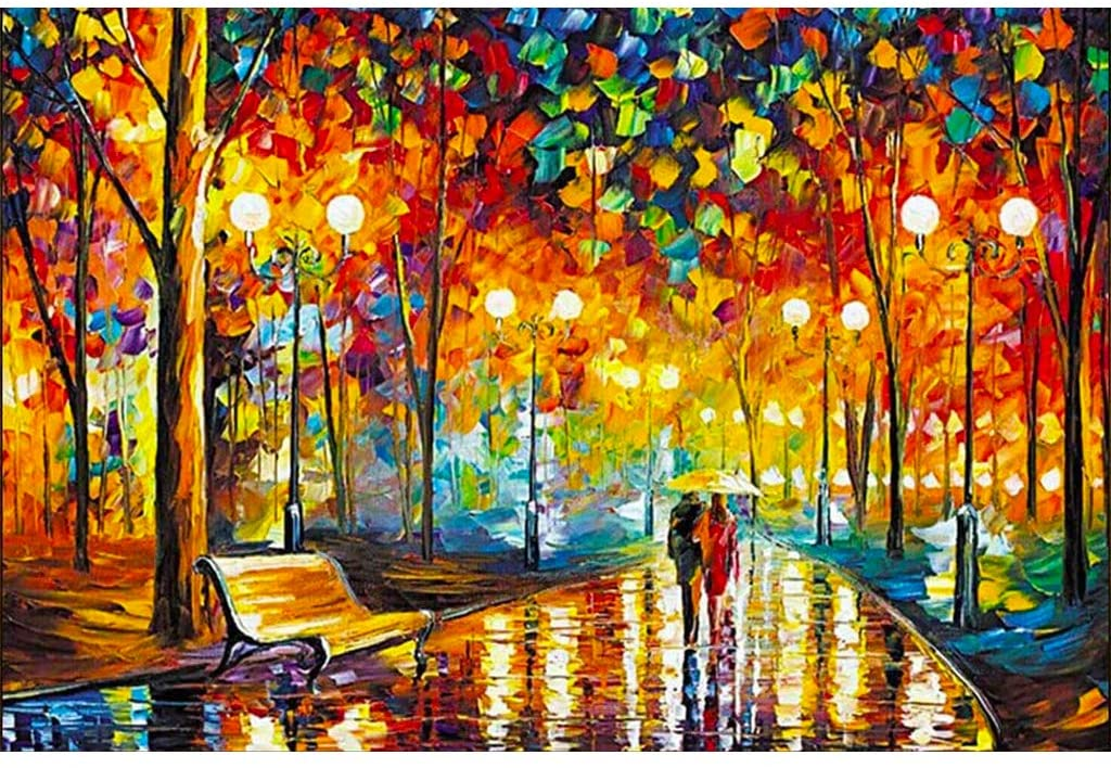 Wooden Difficult Jigsaw Puzzles for Adults 1000 Pieces, Couple Holding Each Other Walking in The Rain with Umbrellas, Parent-Child/Kids/Children Educational Toys for Home/Wall Decor