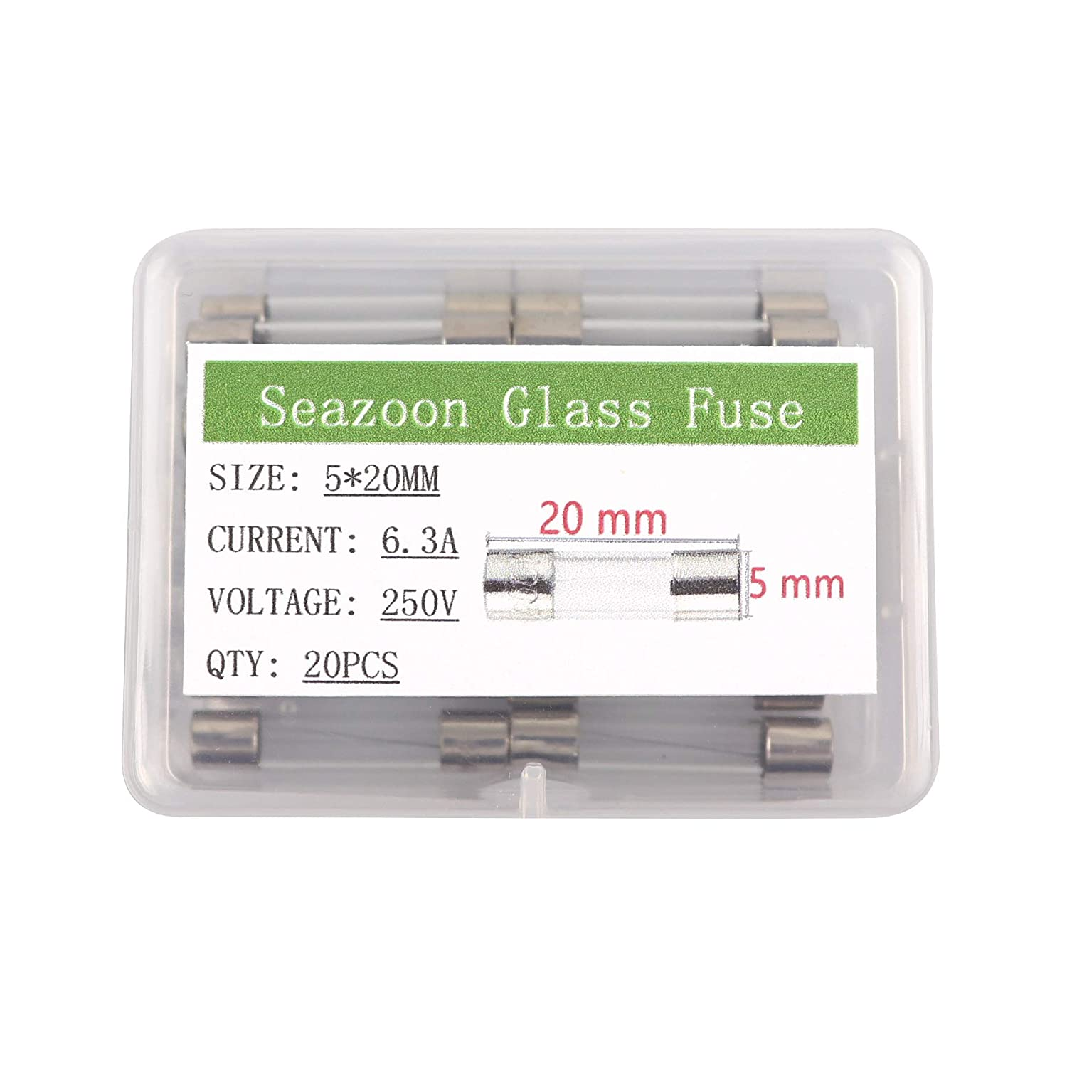 Seazoon 20Pcs 5x20mm 6.3A 6.3amp 250V Quick Blow Glass Tube Fuse Assorted Kits Fast-Blow Fuses
