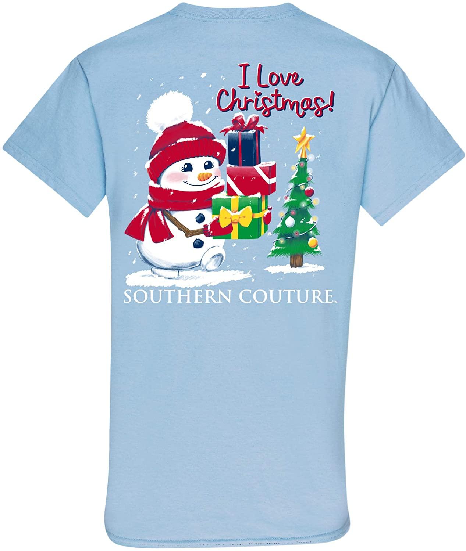 I Love Christmas Snowman Light Blue Cotton Fabric Novelty T-Shirt