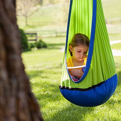 Fat Brain Toys Hanging Fabric Swing - Green/Blue - Sky Nook - Green/Blue Active Play for Ages 3 to 9