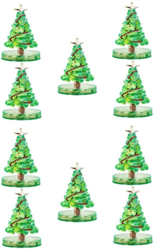 Fishoneion Magic Growing Crystal Christmas Tree, Kids DIY Felt Magic Growing Halloween Decorations Tree/Xmas Ornaments Gifts for Kids Funny Educational Party Toys,10ml (10PC)