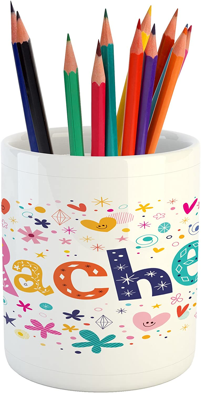 Ambesonne Rachel Pencil Pen Holder, Ornamental Lettering with Hearts Stars and Flowers Sixties Inspired Colorful Motifs, Printed Ceramic Pencil Pen Holder for Desk Office Accessory, Multicolor