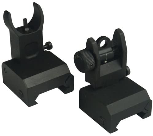 FieldSport Flip Up Iron Sight Rear and front Sight Mount, Precision Machined, Mil Spec Picatinny Rail, Bead Blasted Surface
