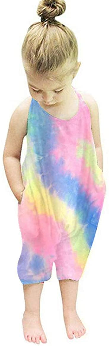 Kids Toddler Baby Girls Sleeveless Tie Dye Harem Romper Strap Halter Backless Cropped Jumpsuit Overall Summer Clothes