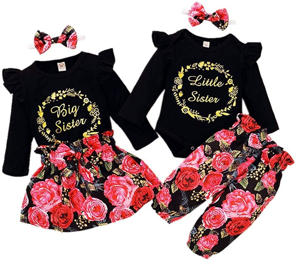 ROSEBEAR Baby Toddler Girl Sister Matching Outfits, Romper/Shirt + Floral Pants/Skirt + Headband for 0-4T Baby Girl