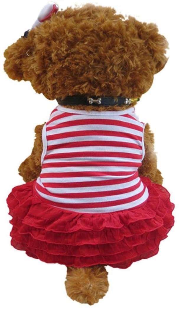 Howstar Puppy Princess Dress, Pet Dog Fashion Ruffles Dress Striped Wedding Party Doggie Clothing