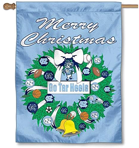 North Carolina Tar Heels Merry Christmas Wreath Banner Flag