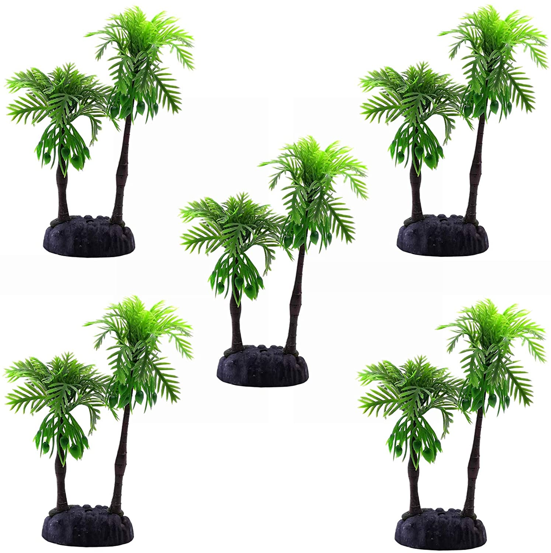M2cbridge 5pcs Plastic Coconut Tree Coco Plants Ornament Mini Resin Artificial Palm Tree
