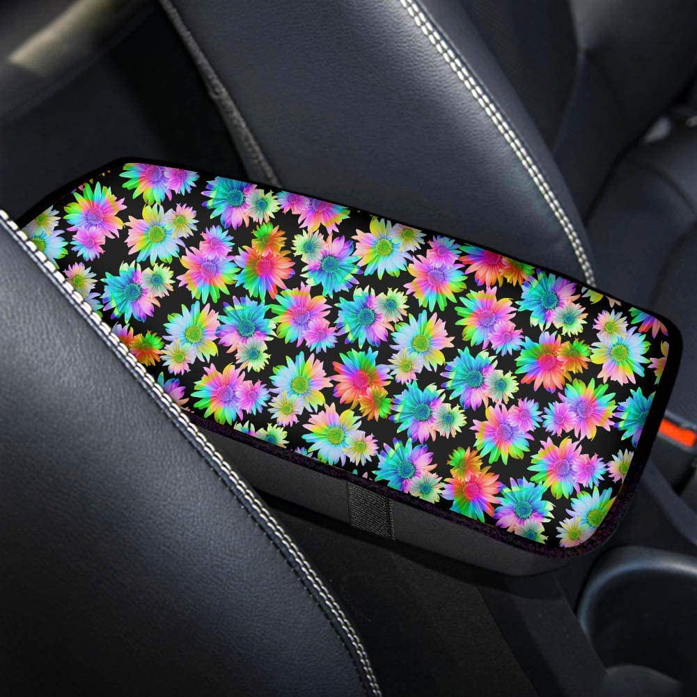 TOADDMOS Personalized Rainbow Sunflower Tie Dye Universal Car Armrest Cover,Auto Center Console Armrest Protector,Fit for Most Vehicle,SUV,Truck Car Accessories