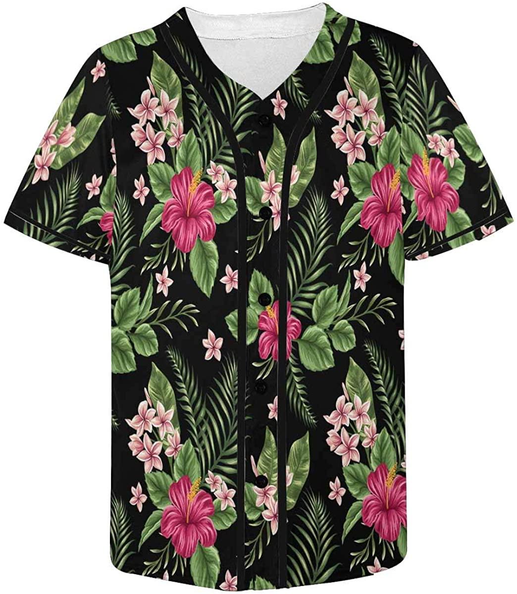 INTERESTPRINT Men's Baseball Jersey Button Down T Shirts Plain Short Sleeve