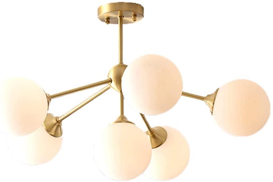 Modo Lighting Mid-Century Modern Ceiling Pendant Light Glass Globe Flushmount Lighting with Bulb 3-Light Brass Hanging Lamp (6-Head with White Glass)