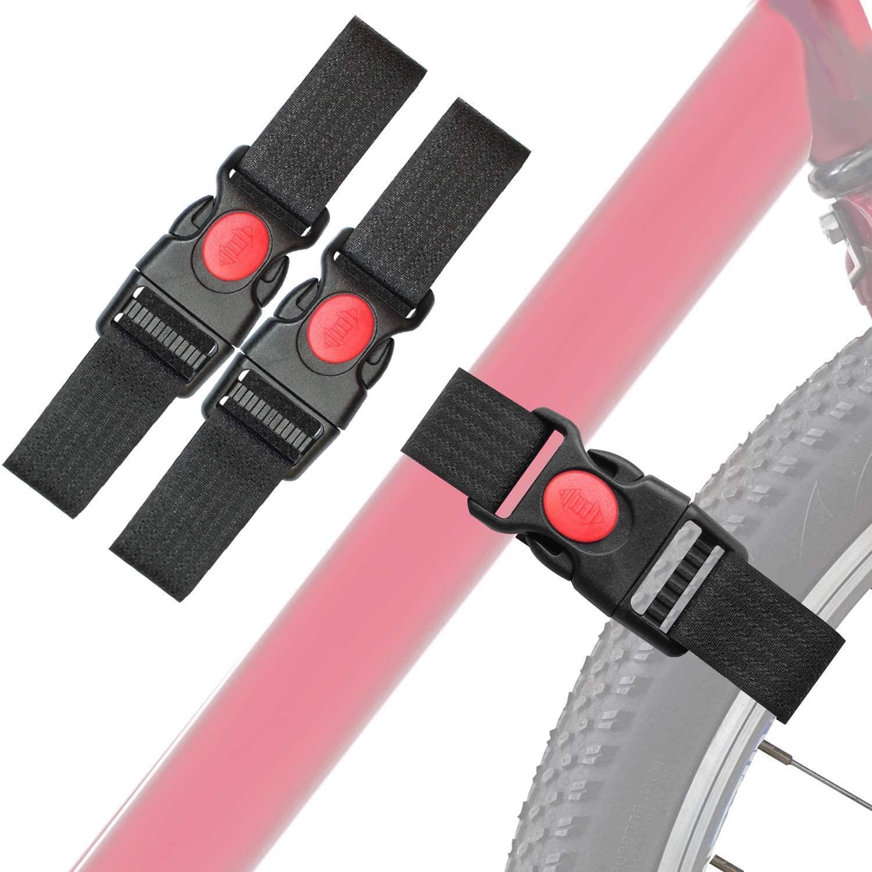 Vukgahao Bike Wheel Stabilizer Heavy Duty Versatile Hook & Loop Securing Straps Tie Downs Fastening Stabilizer Straps Reusable Bicycle Wheel Stabilizer Straps Black 2 Pack
